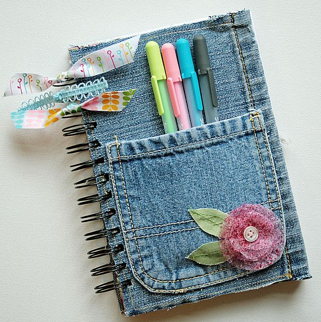 DIY Denim covered notepad tutorial~ great for a Journal, art notebook, or back to school spiral. - What a great gift idea.