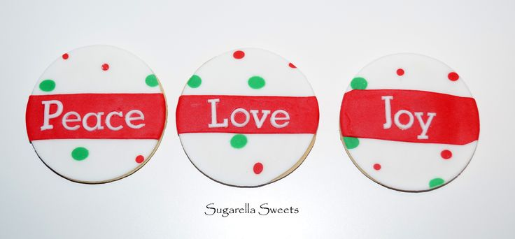 Christmas peace, love and joy cookies perfect for the holidays. For more ideas have a look at www.SugarellaSweets.com