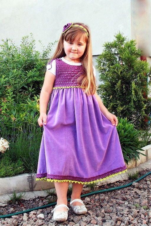 """сарафан детский велюровый """"Оленка"""" - фиолетовый,сарафан для девочки,сарафан крючком"""