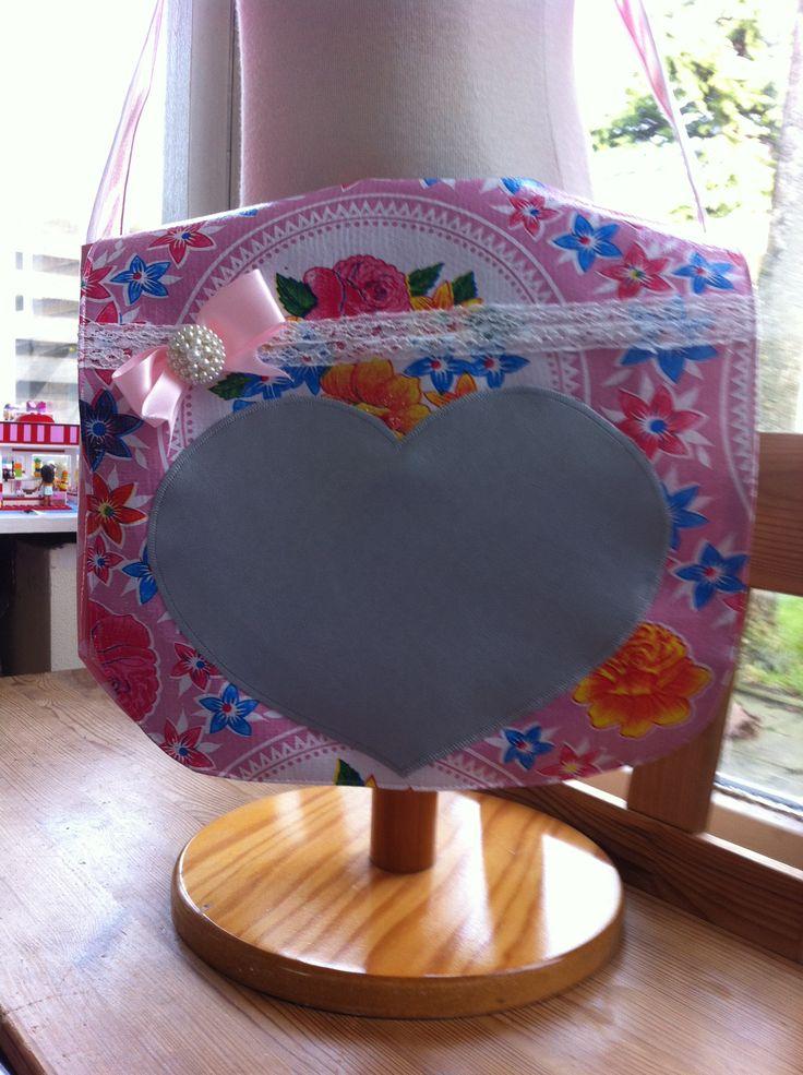 Tafelzeil tas met zilveren hart
