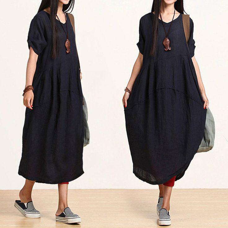 Dark blue linen sleeve Vneck dress / temperament by dreamyil, $108.00