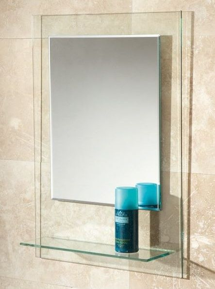 Fuzion Mirror Is A Contemporary Bevelled Edge On Clear Glass Background With Integrated Shelf Best BathroomsGlass