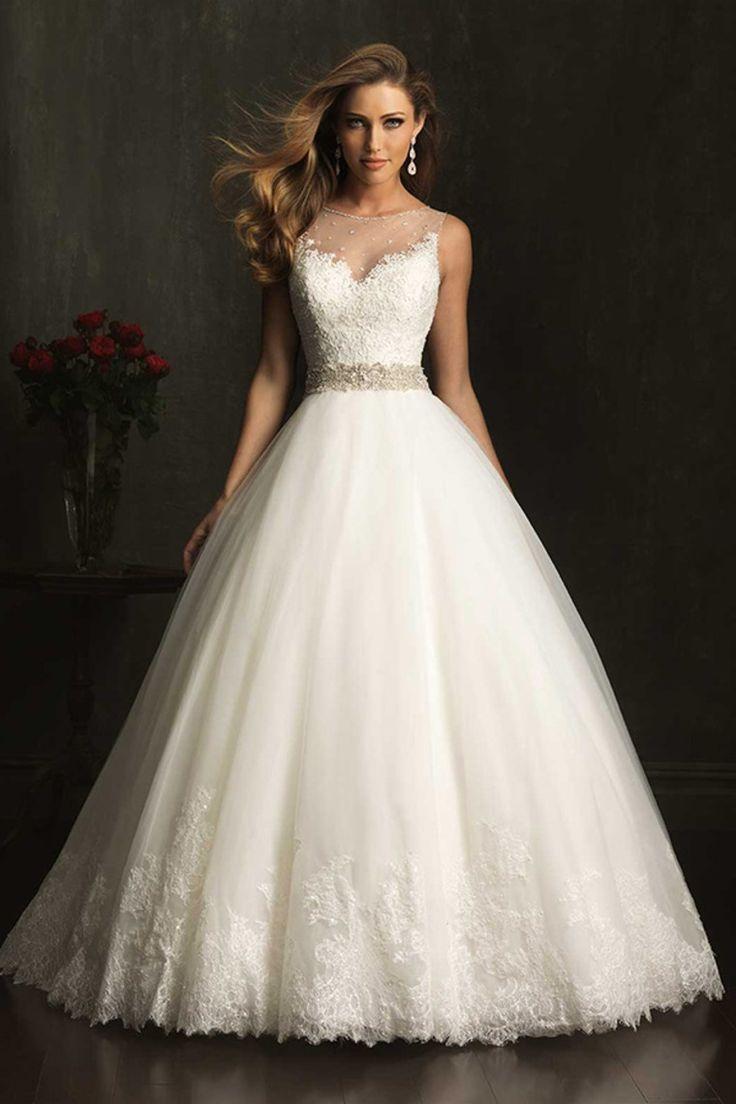 2014 Wedding Dress Bateau Lace Bodice Beaded Waistline Pick Up Tulle Skirt
