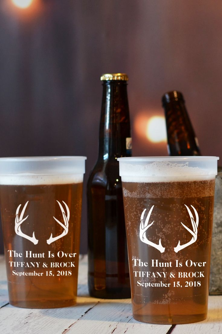 These 22 ounce size plastic stadium cups custom printed with antlers design and phrase 'The Hunt Is Over' are the perfect bar and drink station accessories for a fall or hunter theme wedding reception. Add the bride and groom's name and wedding date and y