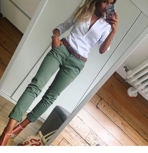 White shirt and olive pants