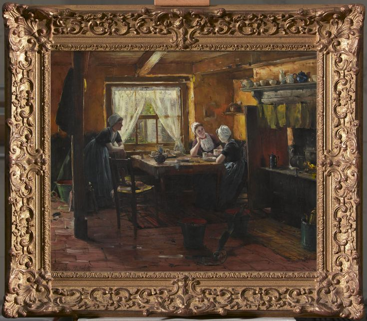 interieur met 3 vrouwen in de dracht van Walcheren 1875-1929 kunstschilder: Portielje, GérardBeuk #Zeeland #Walcheren