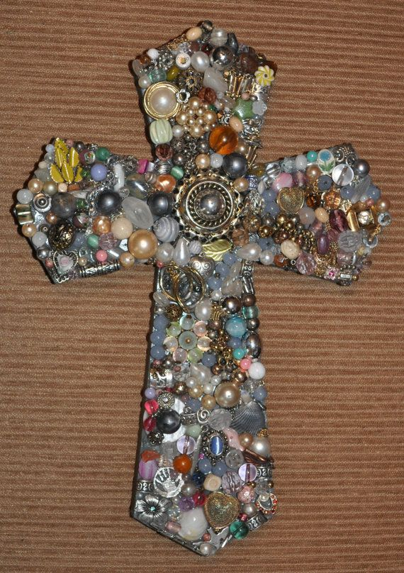"""$45.00 Handmade 12"""" Jeweled Wooden Cross. Made from new and vintage repurposed jewelry. Shopjaykay on www.etsy.com"""