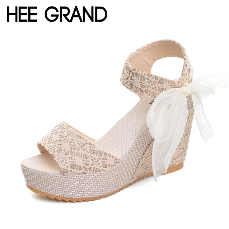 HEE GRAND Floral Wedges Sandals Summer Platform Gladiator Sandals 2017 NEW  Shoes Woman Casual Ankle Strap