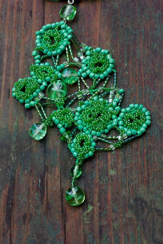 Mint Green Pendant, Bright Green Plant Jewelry, Large Beaded Pendant, Elvish Necklace, Gardening Gift, Botanical Jewelry, Free Form Necklace