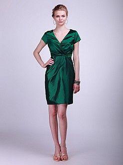 Glenn - V-Ausschnitt Taft Brautjungfer Kleid mit kurzen Ärmeln - EUR 91,17€