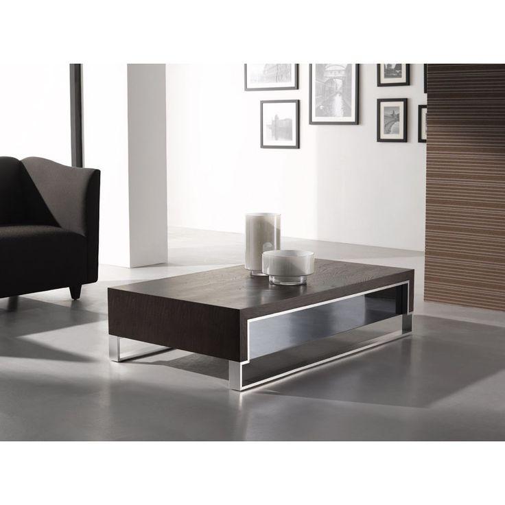 Modern Coffee Table in Dark Oak/ Chrome by J&M