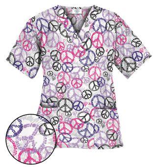 Happy Scrubs® Peace Out White Scrub Top Style # PC61POU  #uniformadvantage #uascrubs #scrubs #printscrubs #peace