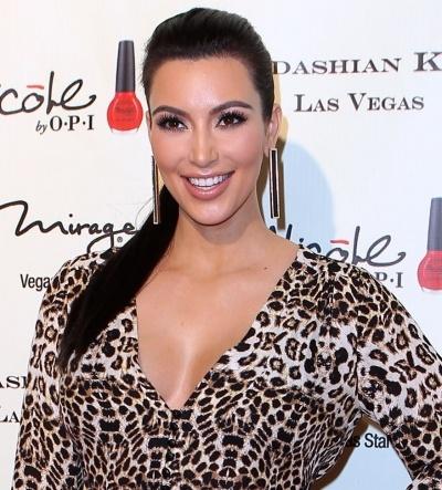 Kim Kardashians slicked back ponytail