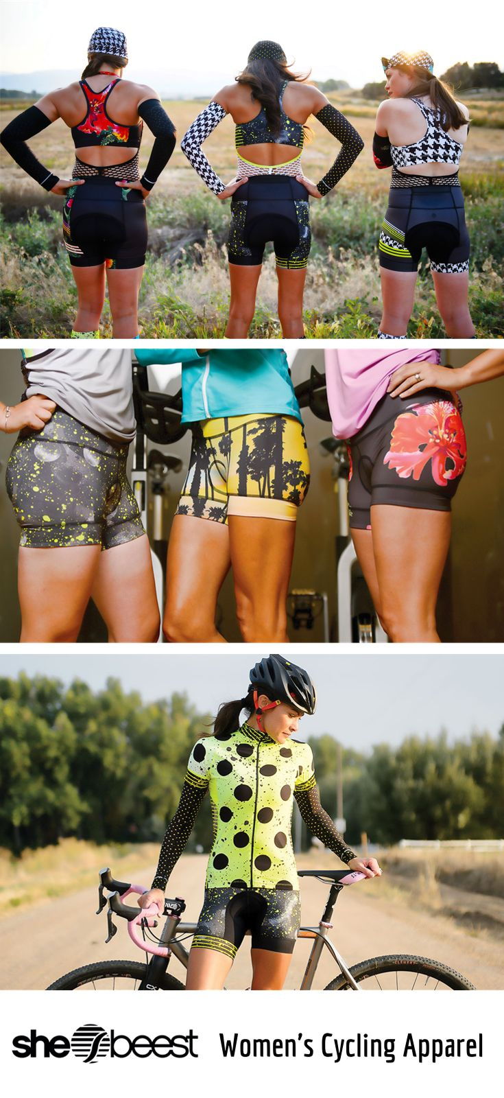 FINALLY women's cycling clothing that looks AND feels great! Our women's cycling jerseys, cycling shorts, capris, and pants are perfect for indoor or outdoor cycling! The bold patterns and designs will be sure you stand out in all the right ways!