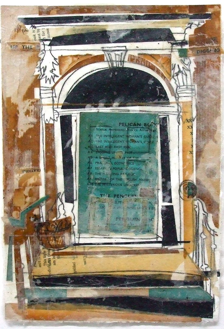 Blue Puffin Doorway, Edinburgh Collage with Charcoal and Wax 2014