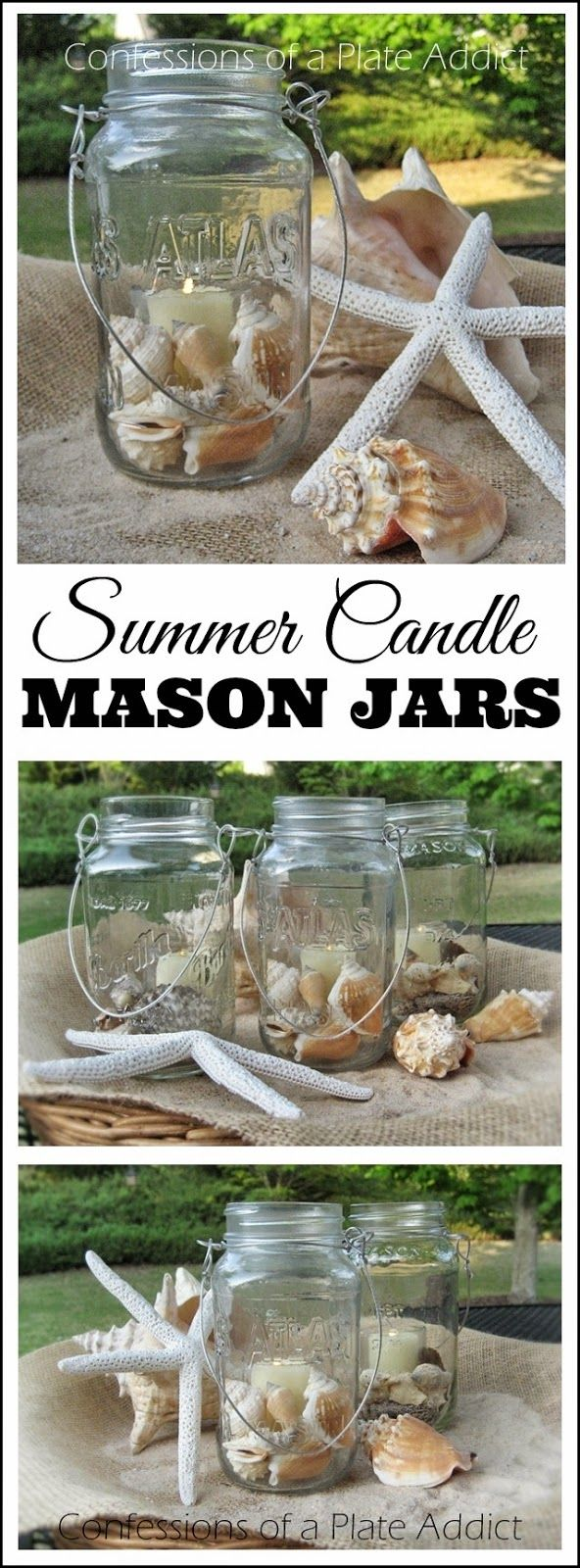 CONFESSIONS OF A PLATE ADDICT: Fun and Easy Summer Mason Jar Candles