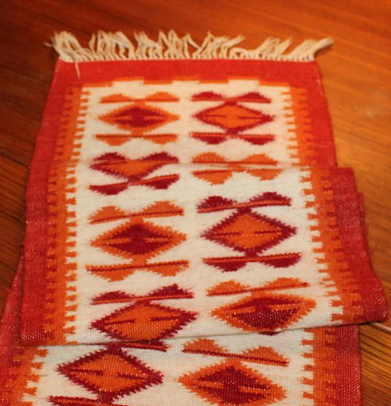 Decorative vintage woven Table runner with geometric pattern