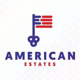 American Estates logo #logo, #mark, #flag, #key, #america, #american, #realty,