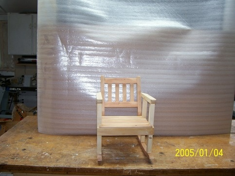 This is a young Children Rocking Chair hand crafted by me ,made out of pine with a clear finish of 4 coats of Laquer on it