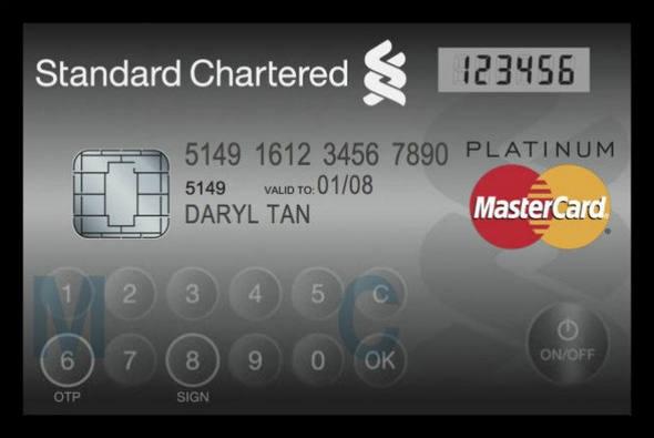 Cartão da MasterCard que traz visor LCD e botões deve estrear no Cingapura.