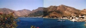 the two pics sort of joined together of Livadia bay TIlos