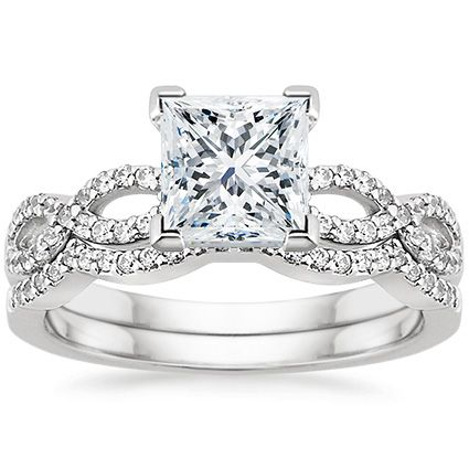 18K White Gold Infinity Diamond Ring Matched Set (1/3 ct. tw.)