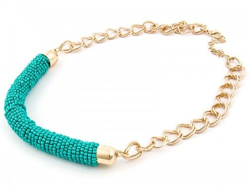 Delicious, large necklace with turquoise beads and chain. Summer style!