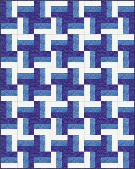 Rail Fence quilt - pinwheel layout - a variety of rail fence designs