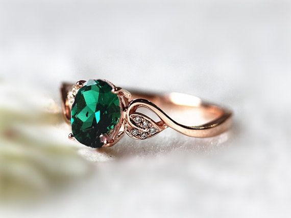 6x8mm Oval Emerald Ring Diamond Treated Emerald  Wedding Ring Engagement Ring 14K Rose Gold Ring Promise Ring Gemstone Jewelry Anniversary