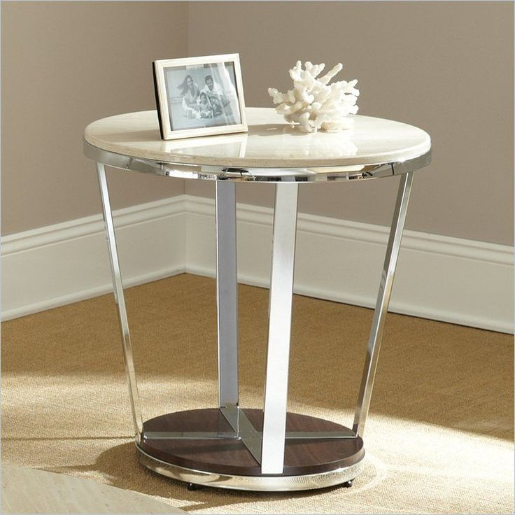 Bosco Faux Marble Round End Table in Espresso