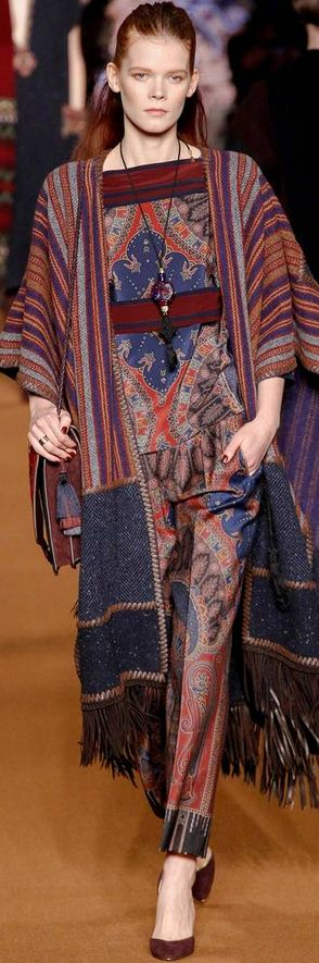 Etro/ Fall 2014 / RTW / High Fashion / Ethnic & Oriental / Carpet & Kilim & Tiles & Prints & Embroidery Inspiration / I like the dress & the sweater, just not together