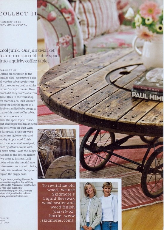 How great is this.....Wooden spool and pram to make a unique coffee table.... :)