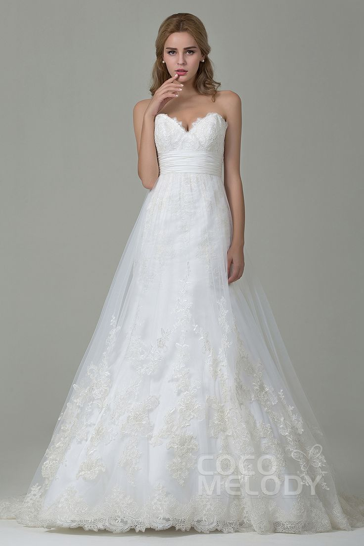 Charming+A-Line+Sweetheart+Natural+Court+Train+Tulle+and+Lace+Ivory+Sleeveless+Zipper+With+Button+Wedding+Dress+with+Appliques+and+Sashes+CWZT15006