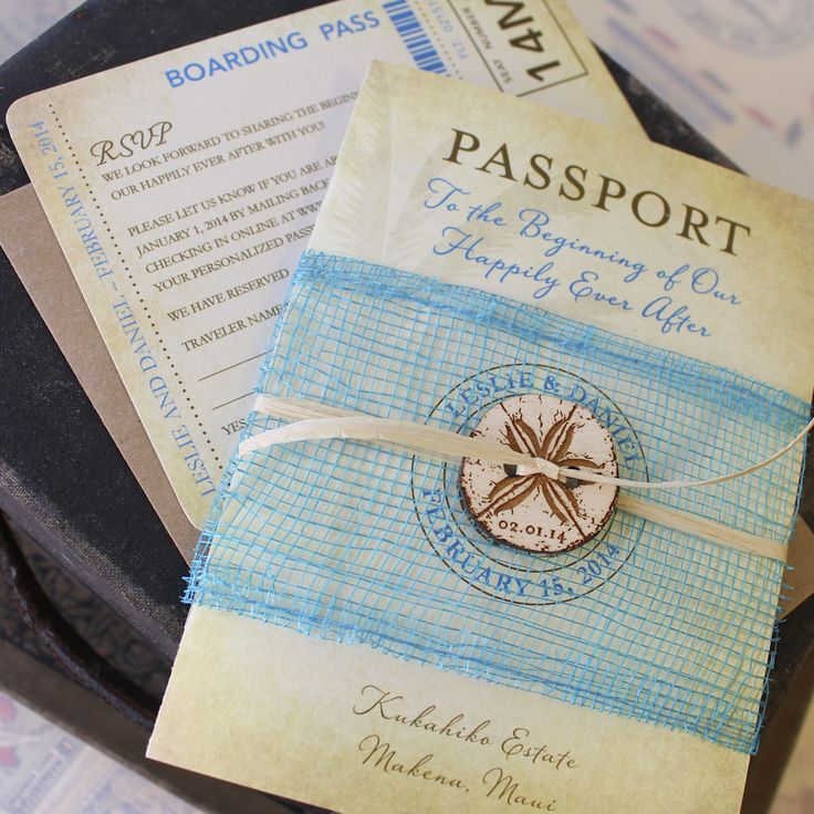 Vintage Sand Dollar Passport Wedding Invitation (Makena, Maui)