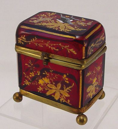 """*MOSER ~ Ruby Red Enamel glass box: Hinged top box hand painted in a bird and floral motif. Brass mountings, ball feet, 2 1/2"""" x 2 1/4 x 2 1/4"""""""