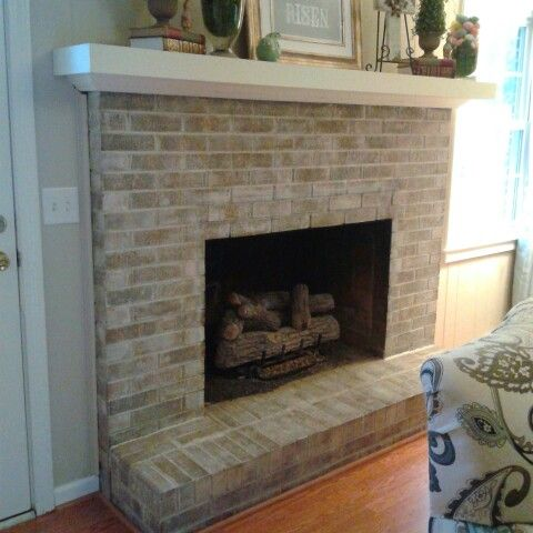 Whitewash brick fireplace with Annie Sloan old white