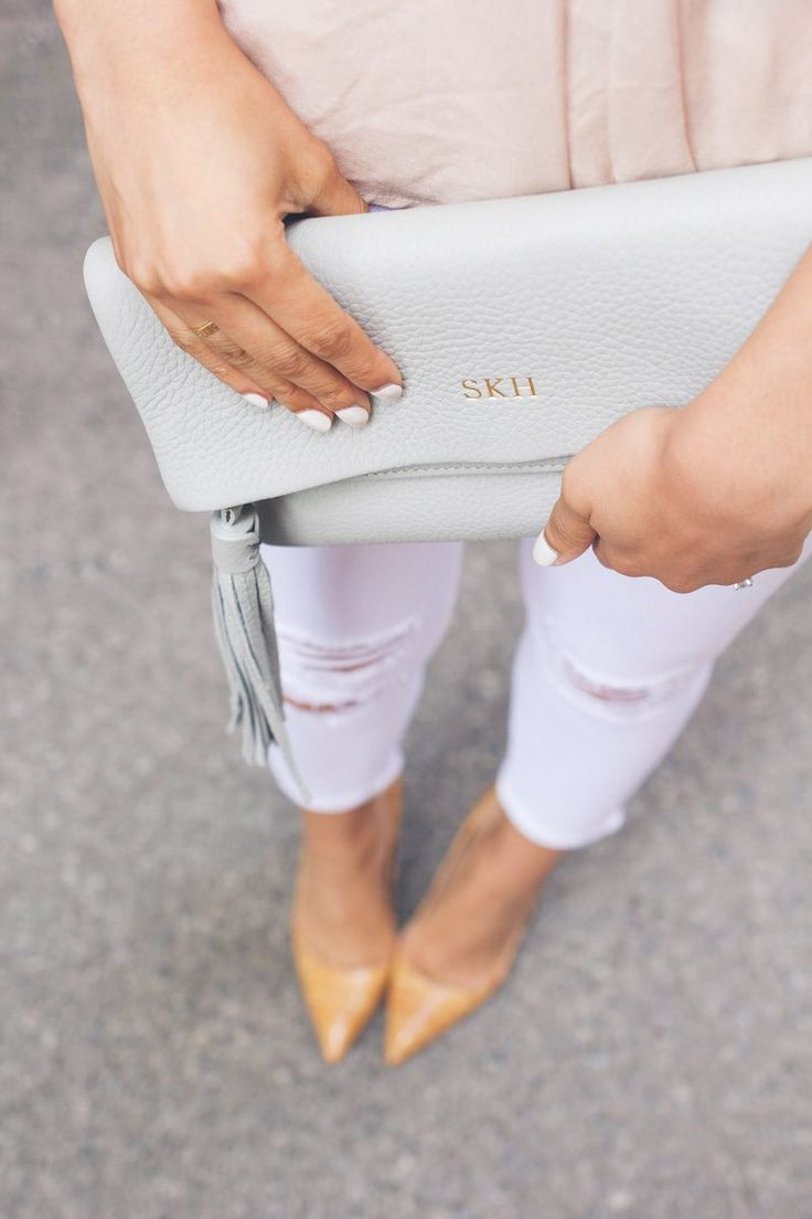grey gigi new york clutch, cork heels, monogrammed clutch