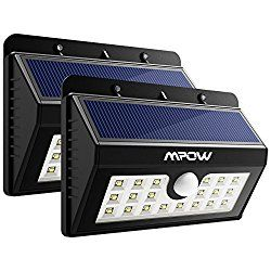 Mpow 20 LED Solar Lights, Bright Outdoor Security Lights with Motion Sensor Wireless Waterproof Lights for Garden, Wall, Path, Patio, Front Door, Deck, Yard, Driveway – 2 Pack