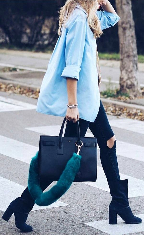 #thanksgiving #fashion ·  Blue Shirt // Black Leather Tote Bag // Destroyed Skinny Jeans // Velvet Ankle Boots