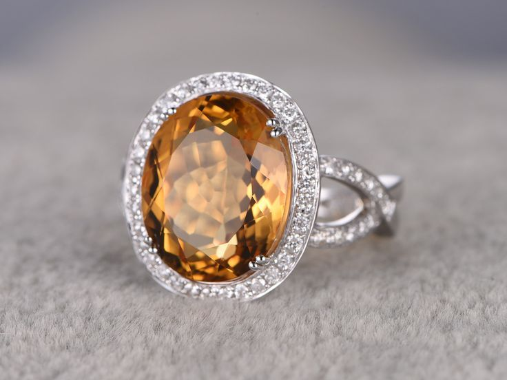 Trendy  ctw Oval Citrine Engagement Ring Diamond Wedding Ring K White Gold Curved Loop