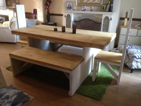 Solid Wooden Dining Table with Chairs or Benches by OakStFurniture, £395.00