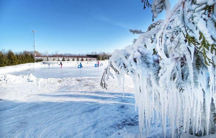 Ice skating in Sister Bay, Door County, Wisconsin