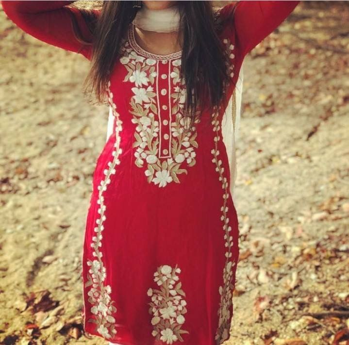 Royal red punjabi suit with white embroidery