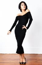 Black Calf Length Sexy Cocktail Party Dress by KD dance, Modest, Fashionable & Discreetly Sexy & Elegant, Stretch Knit Soft, Cozy & Warm, Made In New York City USA