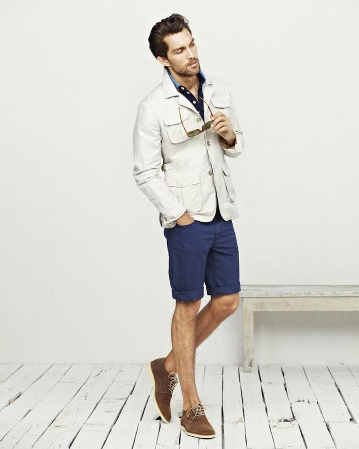 Off White Safari Jacket Navy Blue Shirt And Shorts Tan Suede Oxfords | Mens Fashionables ...