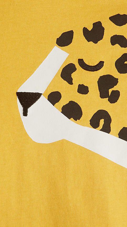 Amber yellow Cheetah Graphic Cotton T-shirt - Image 3