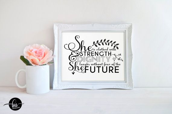 She is Clothed with Strength and Dignity Proverbs SVG cutting file for Cricut Design Space