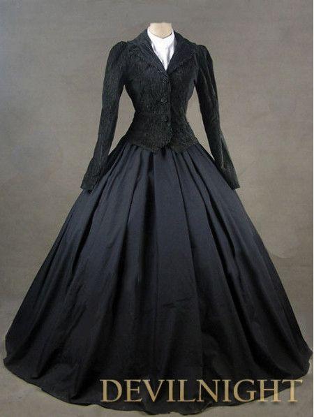 Inverno preto gótico vitoriano traje gótico vitoriano padrões em Vestidos de Roupas e Acessórios no AliExpress.com | Alibaba Group