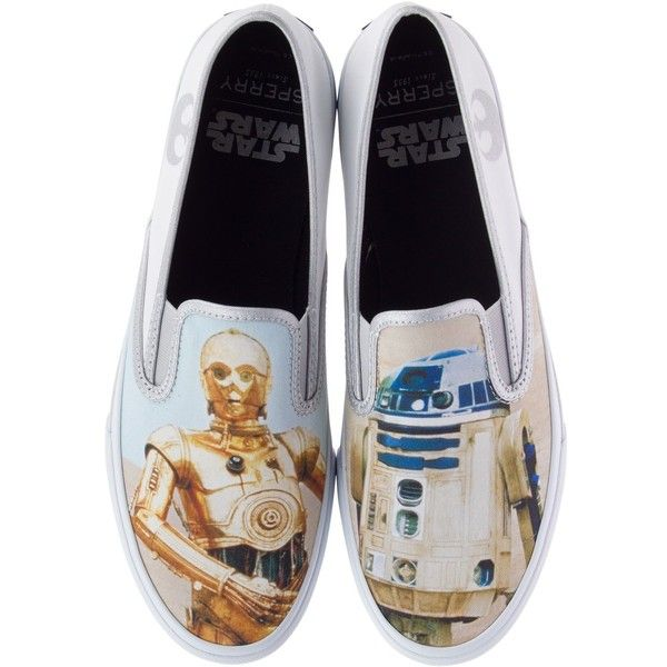 Sperry Star Wars Men's Cloud Slip-on Droids Sneakers ($75) ❤ liked on Polyvore featuring men's fashion, men's shoes, men's sneakers, tan, mens tan shoes, mens shoes, mens slipon shoes, mens slip on sneakers and sperry mens shoes