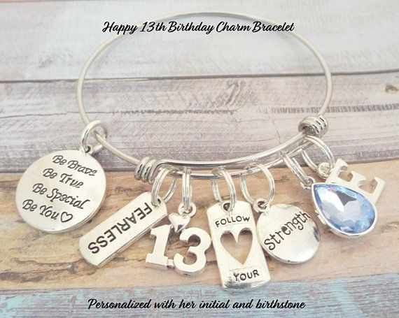 13th Birthday Girl Gift For Daughter S 13th Birthday Girl S Birthday Gift 13th Birthday 13th Birthday Gifts Birthday Gifts For Girls Birthday Charm Bracelet